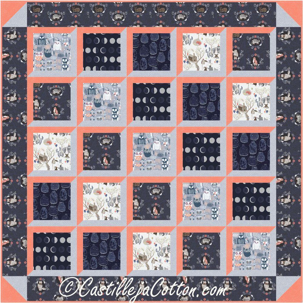 Window View Quilt Pattern - Nocturnal Dreams  #cribquiltpattern #timelesstreasuresfabrics #nocturnaldreamsfabrics