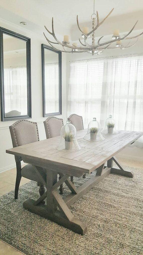 84 Inch X Style Trestle Farmhouse Wood Dining Table Modern