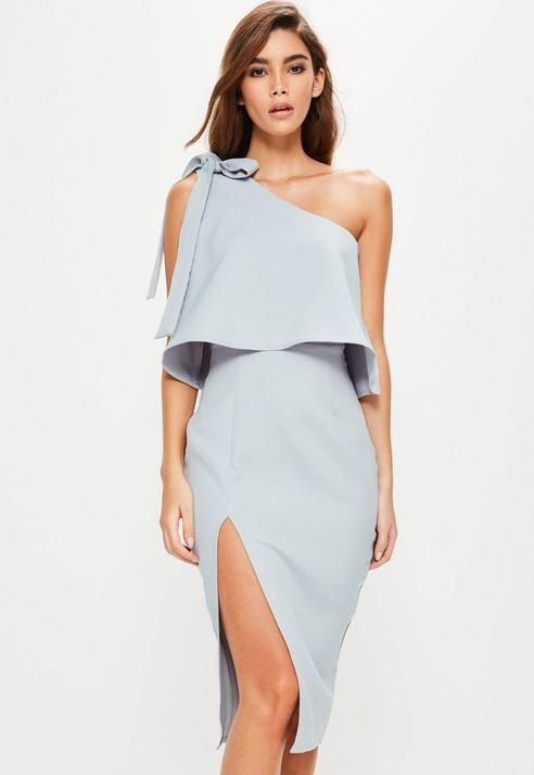 29e3541564443 Gray Crepe One Shoulder Bow Sleeve Midi Dress in 2019 | Products ...