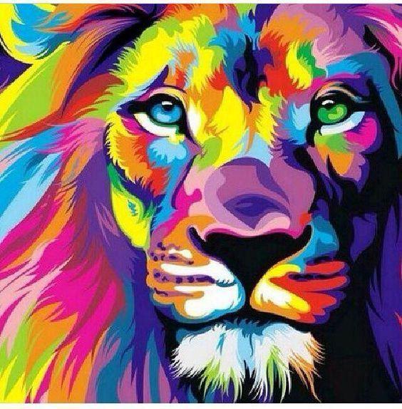 Resultado De Imagen Para Leon Dibujo A Color Cuadro A Color Art