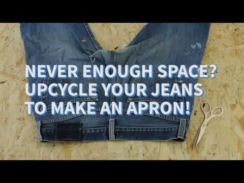 DIY Hack Tool Belt Using A Pair Of Old Jeans - keeps the top snap