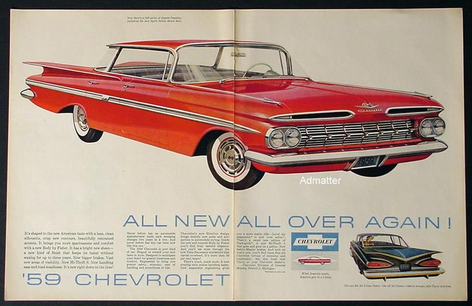Magazine Ad For A 1959 Chevy Impala Automobile Advertising Car