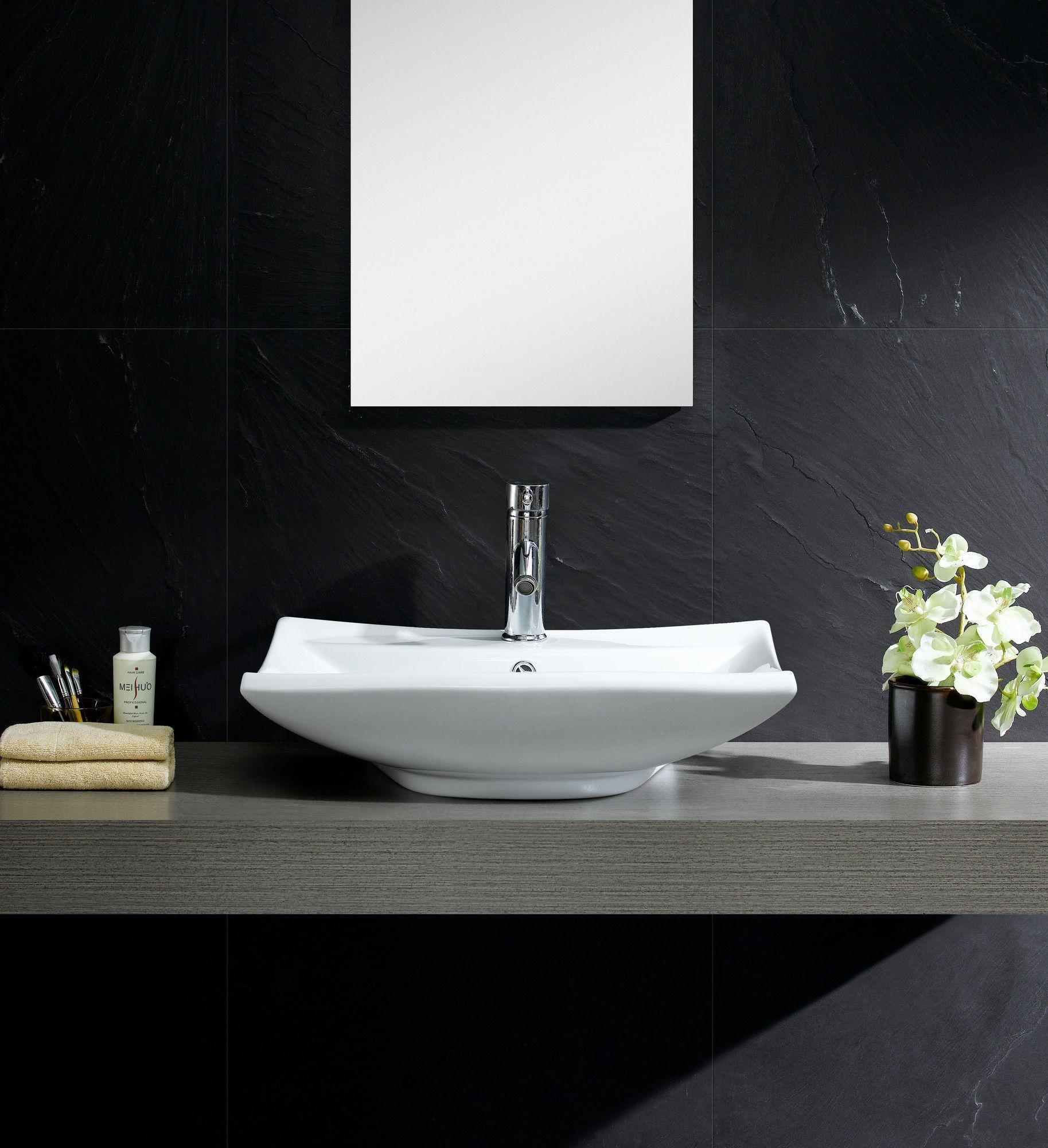 Modern Ceramic Rectangular Vessel Bathroom Sink with