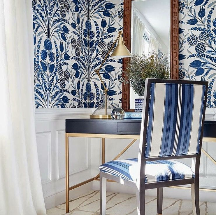 Thibaut 1886 Blue and White Bathroom wallpaper, Navy