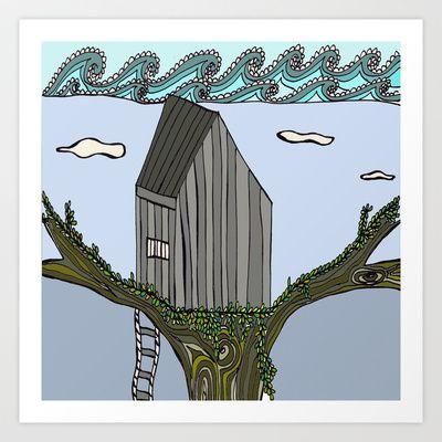 Cape Elizabeth Tree House Art Print by Zaz & Moe/Susan Delsandro Hellier - $16.00