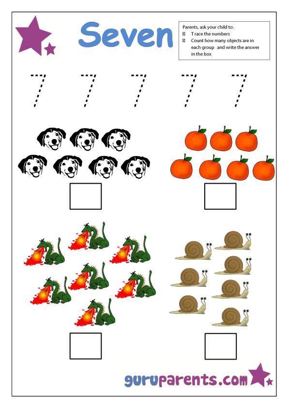 Number 7 worksheets Free colorful and printable – Number 7 Worksheet