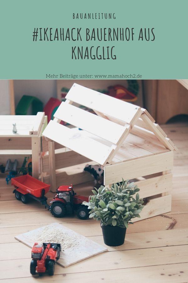 #Ikeahack: DIY Bauanleitung für einen Bauernhof-Traktorschuppen aus Ikea Knagglig Kisten #ikeakinderzimmer