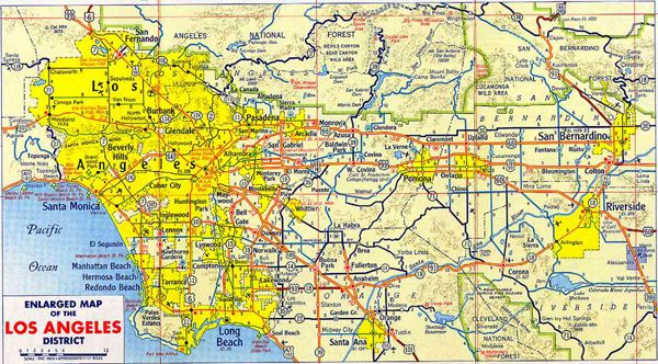 New LA Large detailed road map of Los Angeles of 1955 Los Angeles