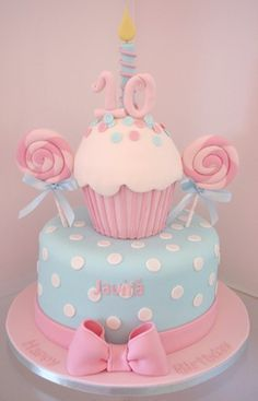 Baby Pink and Blue Cupcake Cake Fondant i Cup Cakes Pinterest