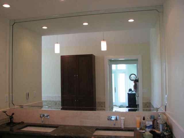 custom vanity mirror with bevel strips and corner pieces on custom bathroom vanity mirrors id=99211