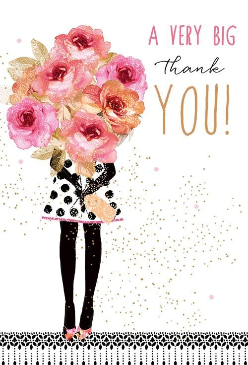 Thank you card with a girl holding a big bouquet of flowers. Design by Sara Miller Outside Text: A very big thank you! Inside Text: You're simply wonderful. Refinements: Glitter, Foil, Emboss More from Sara Miller 0012.50979