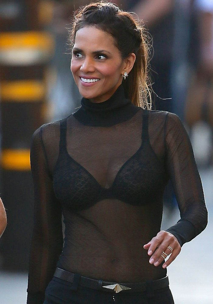 49-Year-Old Halle Berry Shows Off Toned Body in Sheer Top and Jimmy Choo at Jimmy Kimmel, Believes There Is Life on Other Planets