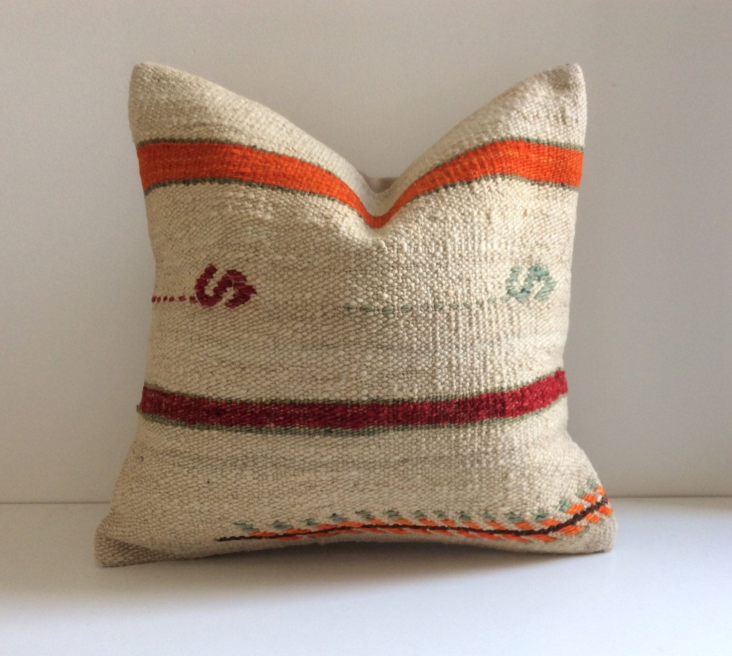 Cream kilim throw pillow with red & orange stripes Bohemian