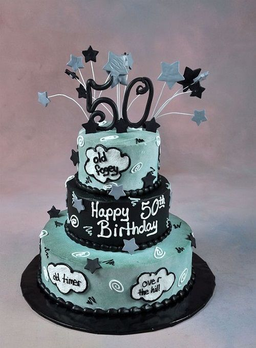 Grey And Black Cute 50th Birthday Cakes For Men