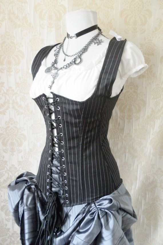 cotton coutil steampunk | Pinstripe steel boned waistcoat corset, moll lace front corset-to fit ...