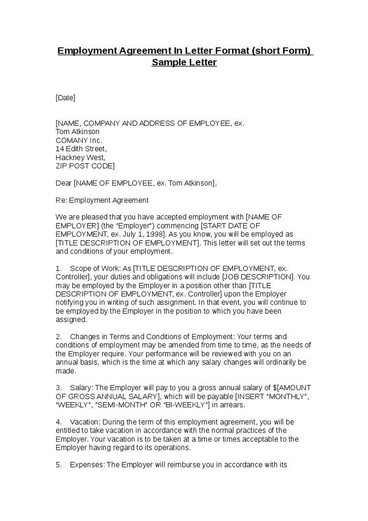 Contract Letter Work Sample Letter  Arry Farrel