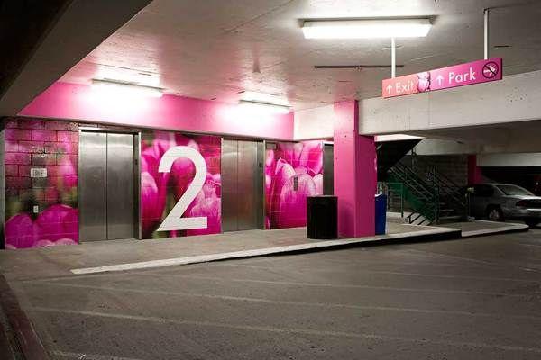 Town Pavilion Parking Garage Wayfinding By Julie Vinh Via Behance Signage Design Wayfinding Signage Design Wayfinding Signage