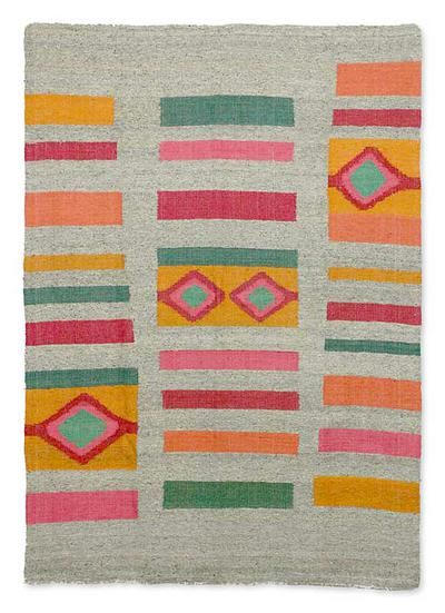 Wool Rug Geometric Colors Fair Trade