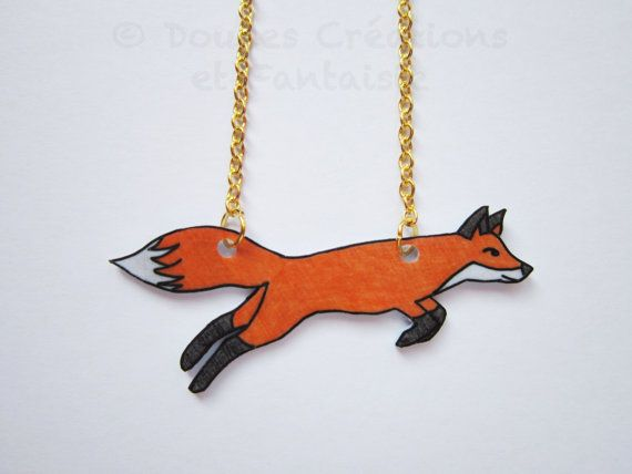 Fox necklace animal jewelry kawaii cute shrink by DoucesCreations