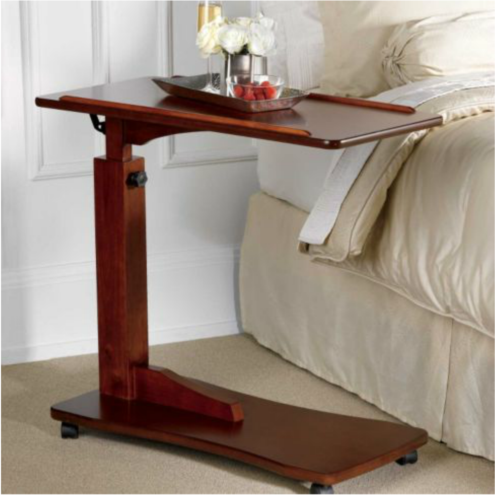 Walnut Bedside Rolling Work Table Hospital Bed Tray Laptop