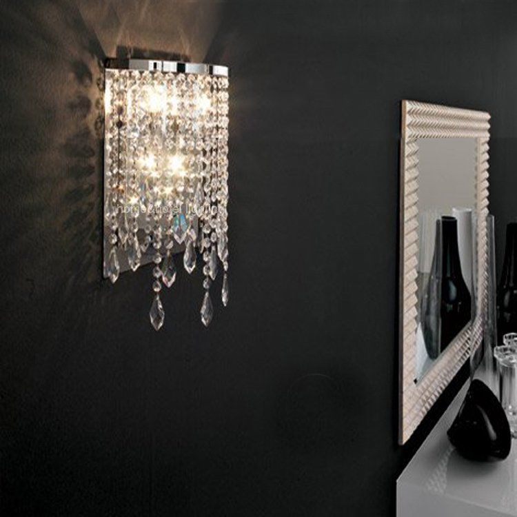 Modern 2 Light Crystal Wall Light In Polished Chrome Mirror Lighting Contemporary Wall Sconces On Al Crystal Wall Lighting Contemporary Wall Lamp Led Wall Lamp