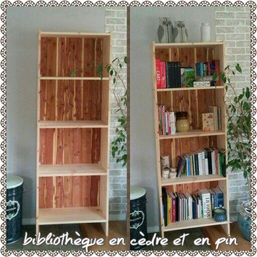 Bibliothèque fait maison en cèdre et en pin projet bricolage - bricolage a la maison