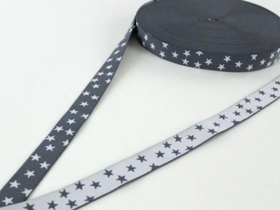 Elastic Ribbon little Stars, grey-white - Elastic Ribbon - at fabrics-hemmers.co.uk
