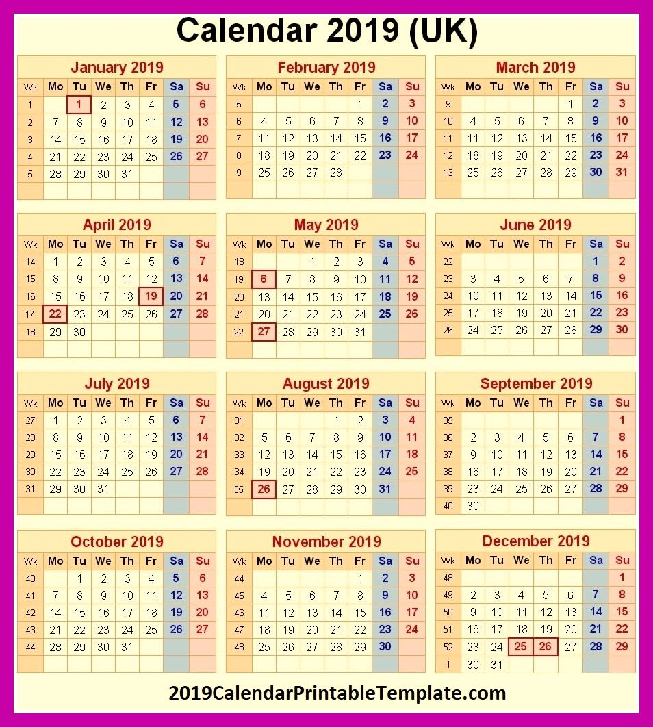 2019 Calendar UK Printable Https://www