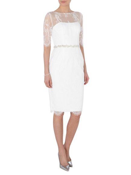 LUXUAR Cocktailkleid aus Mesh mit Ziersteinen in Weiß online kaufen ...