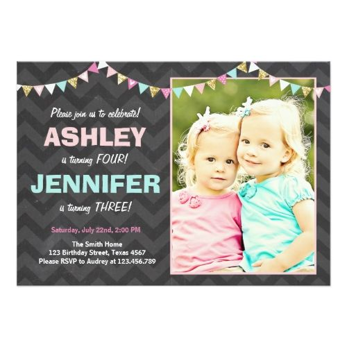 joint twin birthday party invitation twins dual in 2018 twins