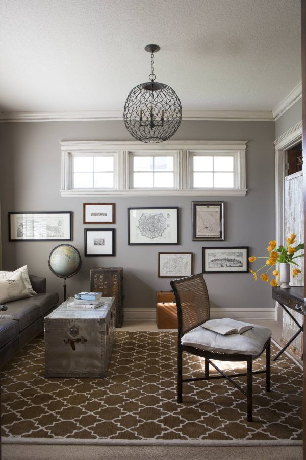 Small Contemporary Home Office With Sherwin Williams Dorian Gray Sw 7017 Wall Paint Popular Living Room Colors Living Room Colors Paint Colors For Living Room