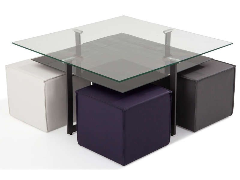 table basse 4 poufs bolero table