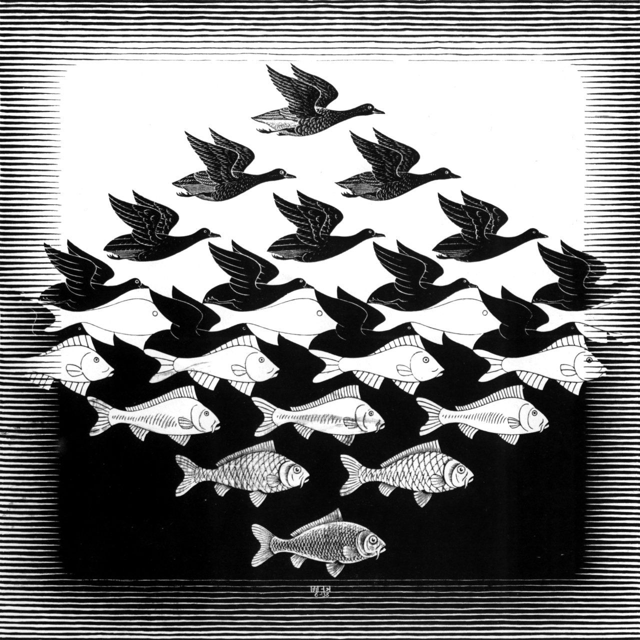 Gestalt Theory- This M.C. Escher image uses the principles of ...