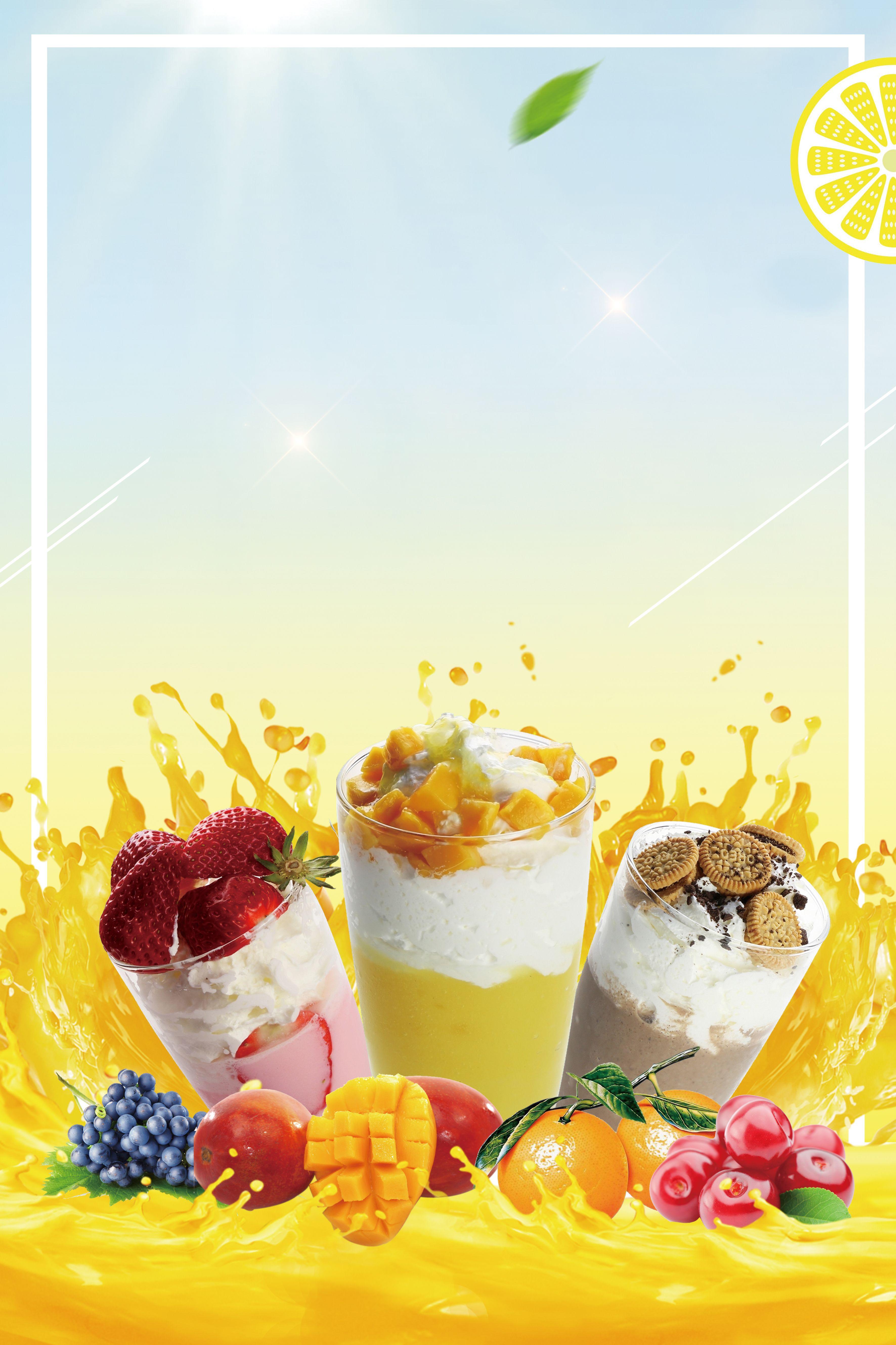 Beach Cold Drinks Fresh Fruit Silk Poster Background