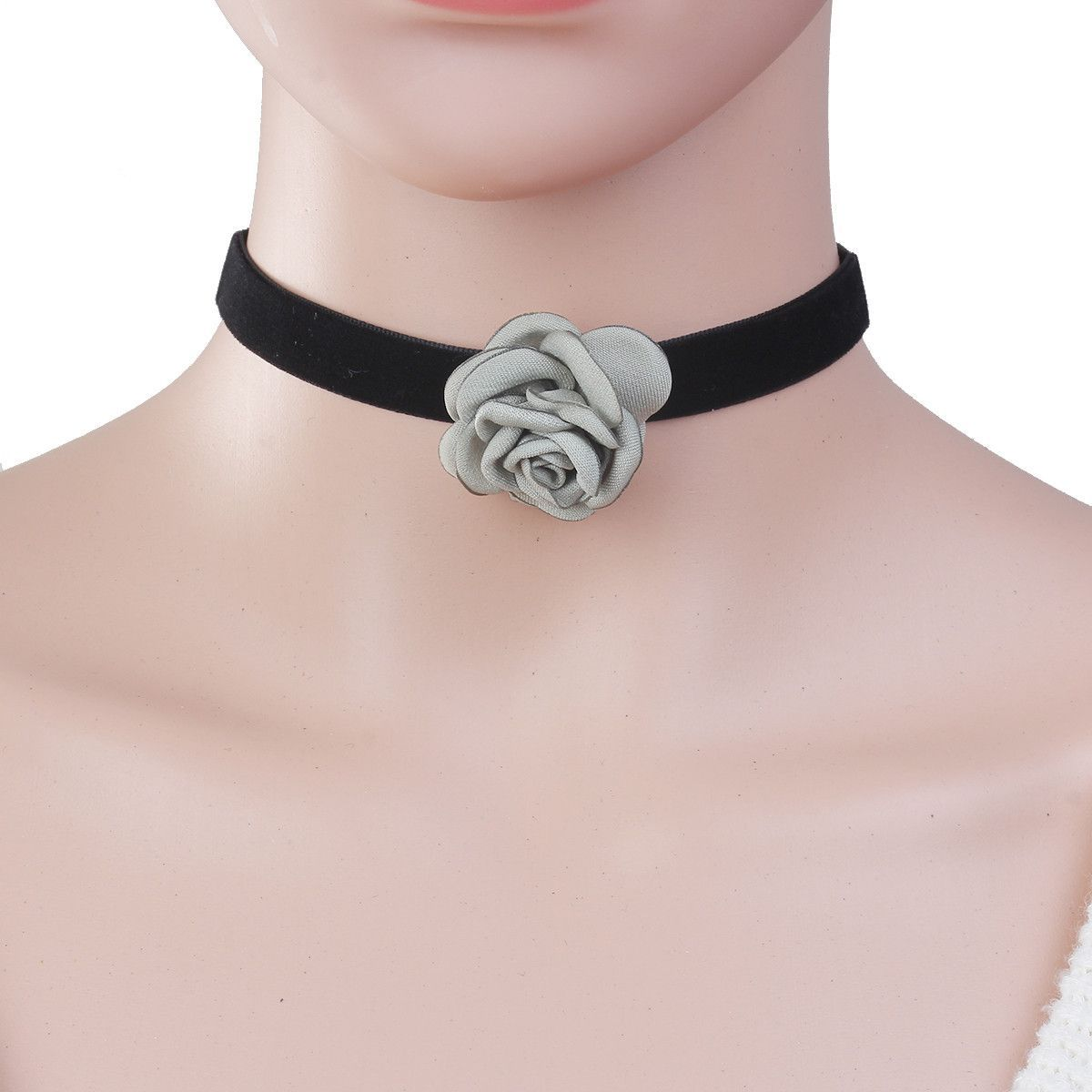 Sexy Sparkles New Style Black Choker Necklace with Light Green Flower