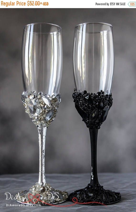 black and silver personalized wedding set champagne flutes, mr & mrs