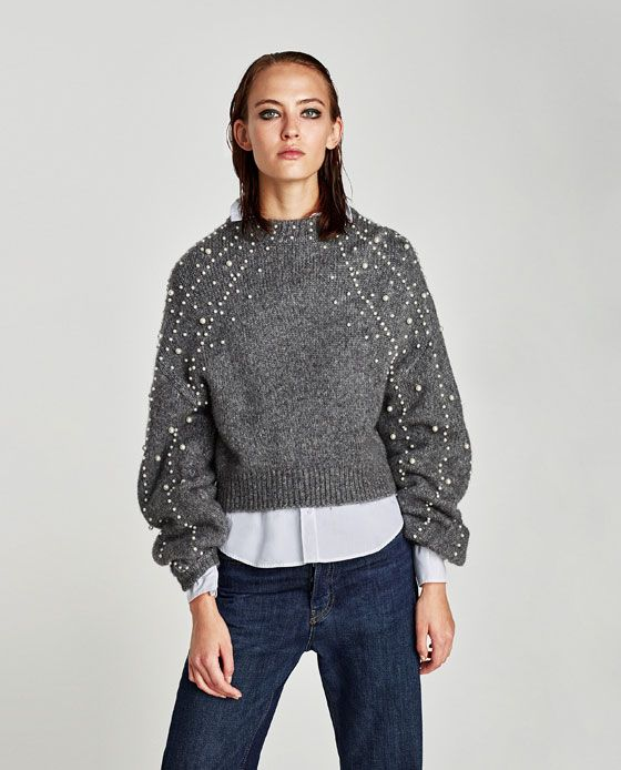 637b79a9158 Image 2 of CROPPED SWEATER WITH FAUX PEARLS from Zara