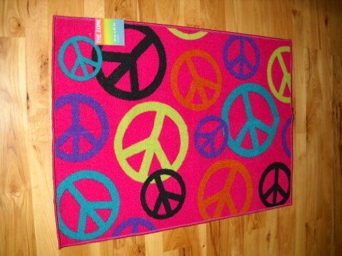 Peace Sign Bedroom Accessories: Girls Bedroom Decor Peace Sign Throw Rug Hot Pink Teen