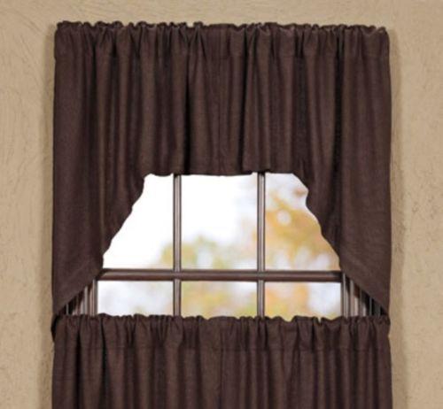 Burlap Chocolate Swag Valance Window Curtain Unlined 2 Pc Set 36