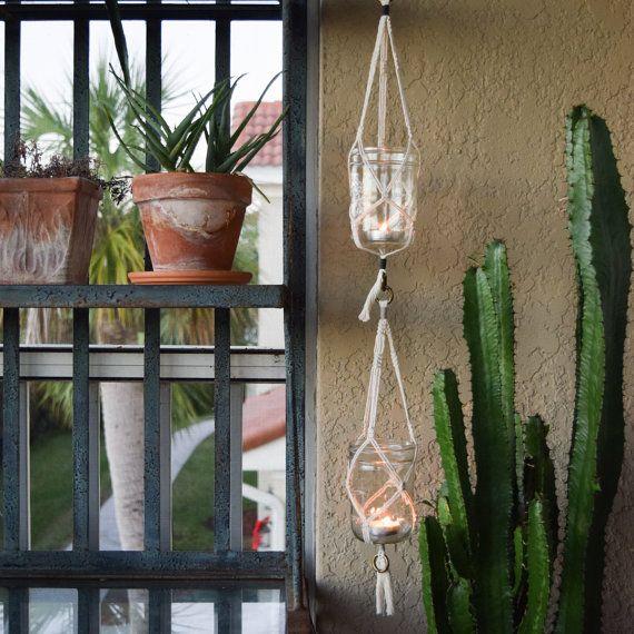 Macrame Plant/Candle Hanger, Attachable Hangers, Mason Jar Included,  Wedding Decor Holder, Patio Hanger, Hanging Herb Garden, Wedding Decor
