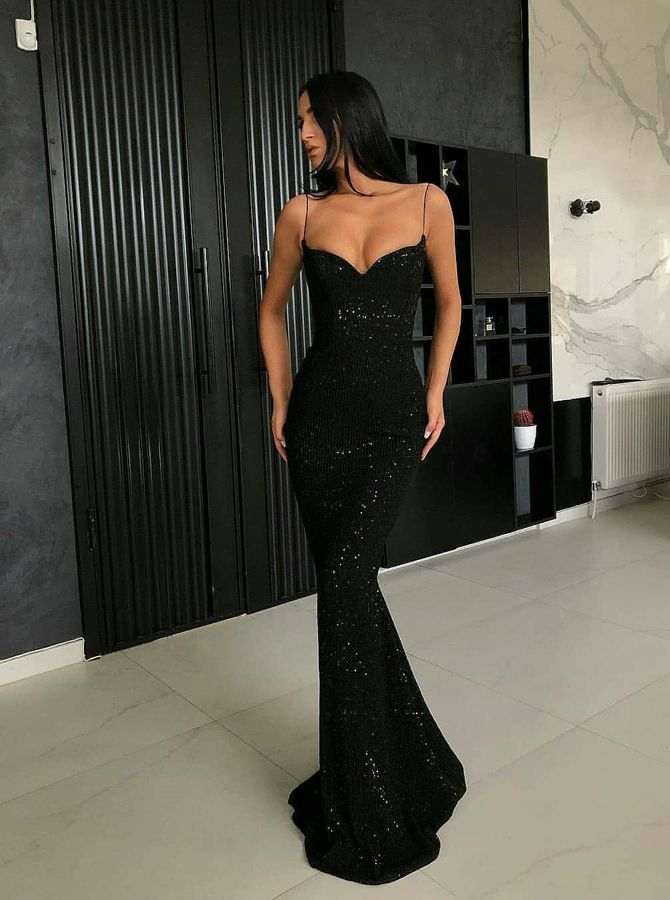 Mermaid Spaghetti Straps Floor-Length Black Sequined Prom Evening Dress #eveningdresses