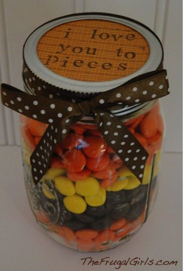 Reeses Pieces Gifts Mason Jar Gifts Jar Gifts Diy Gifts For