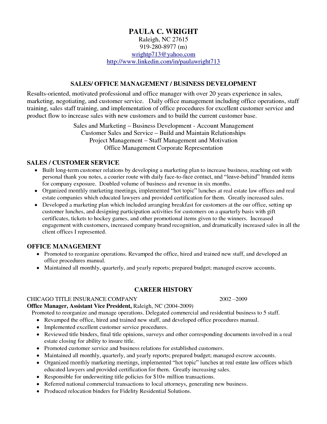 Example of resume profile