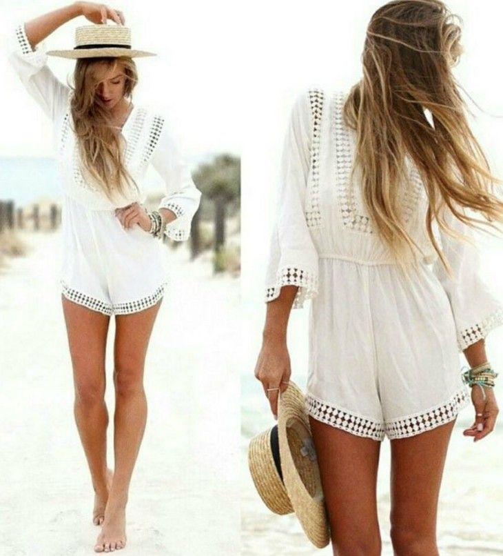 9c4ace619ff V Neck Boho White Jumpsuit