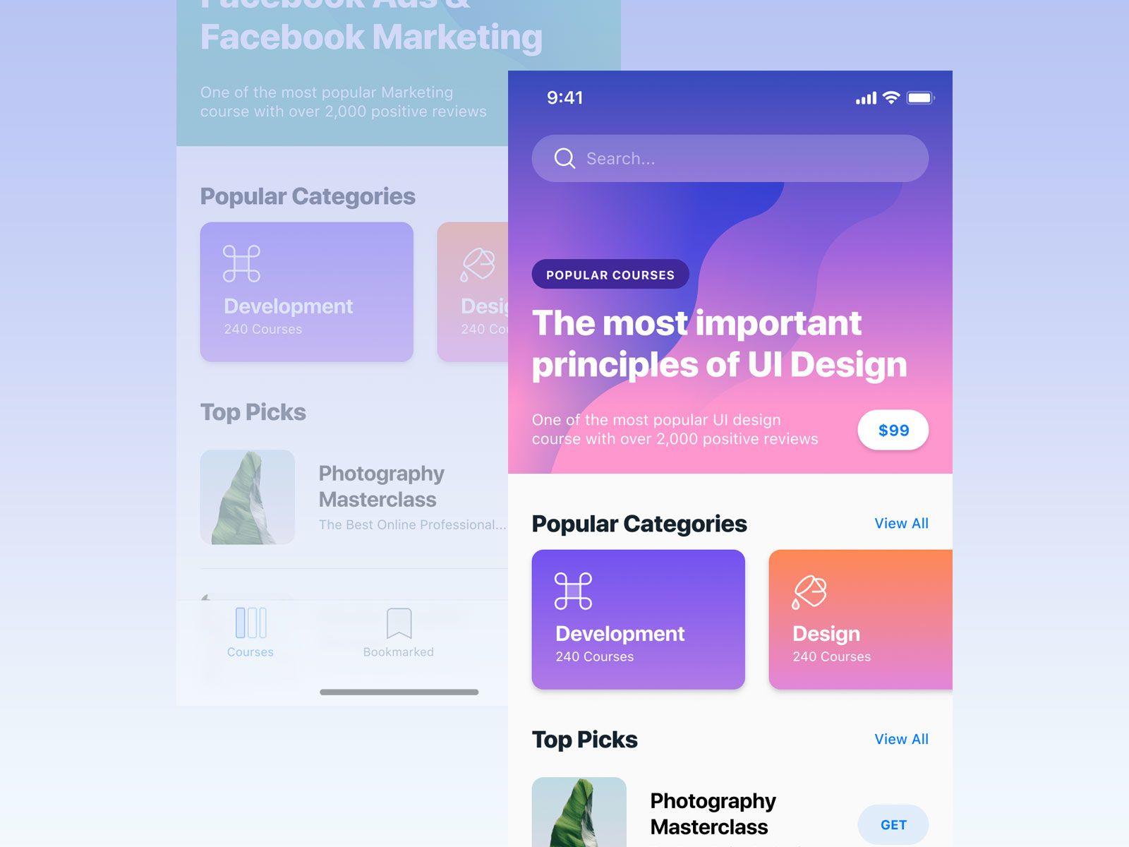 Courses   Ui - iOS / Android / Web   Iphone app design, App design