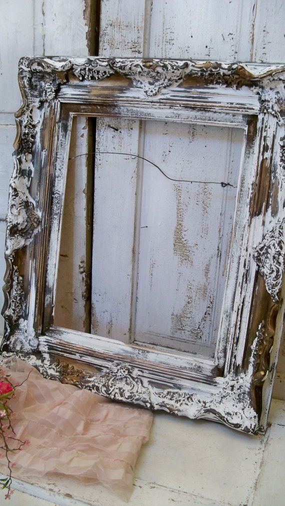 Distressed antique wooden frame large ornate white chippy painted ...