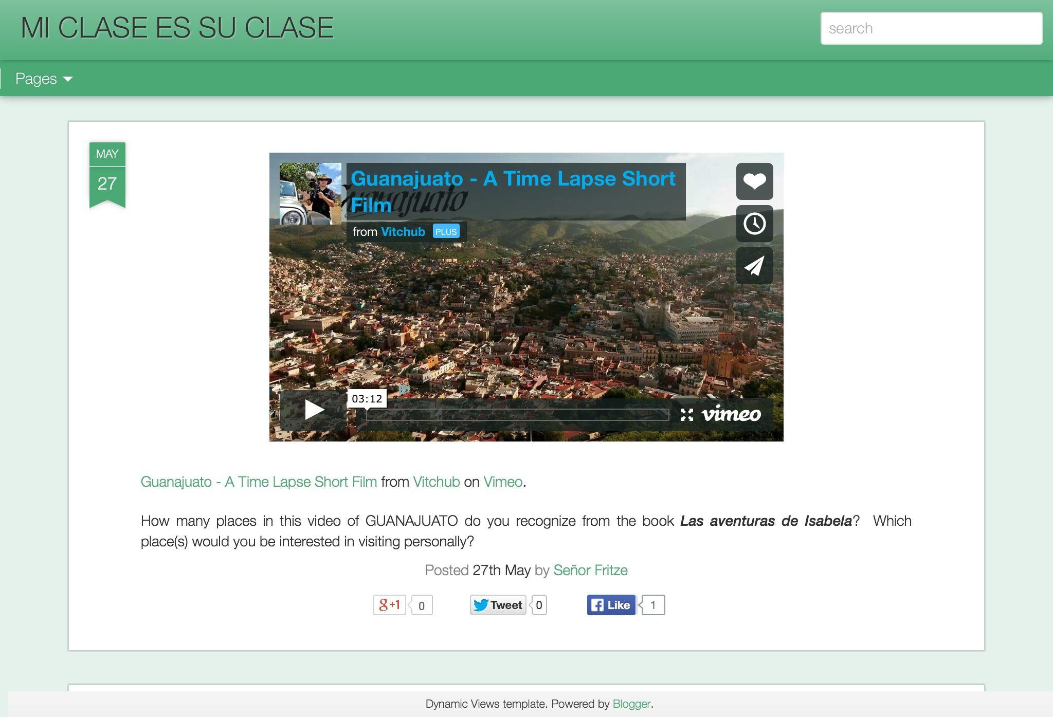 Mi clase es su clase; Jason Fritze blog