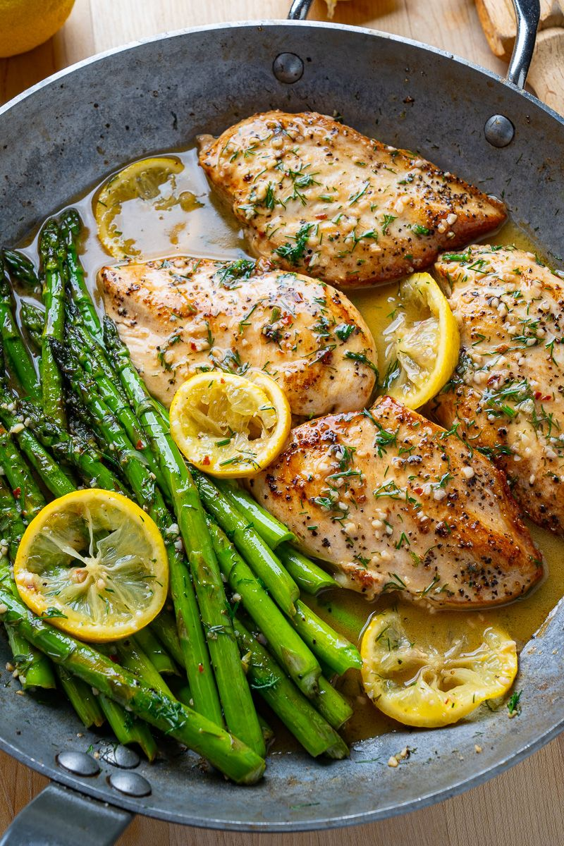 Pan seared butter-garlic chicken and asparagus in a tasty lemon and dill sauce!