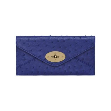 b4321caf24 Mulberry Gift Kaleidoscope | Blue - Envelope Wallet in Cosmic Blue Ostrich