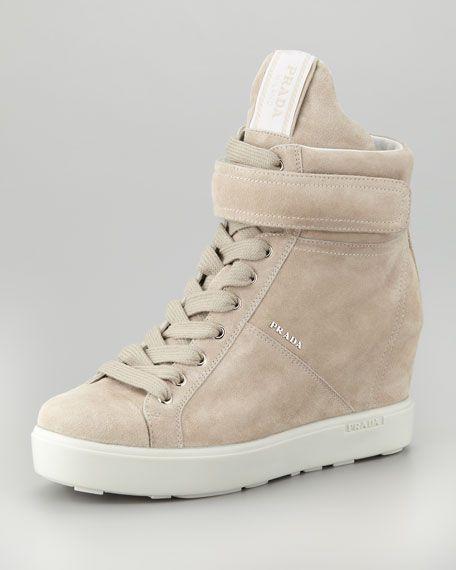 167477aecf33 Prada - Suede Hi-Top Wedge Sneaker